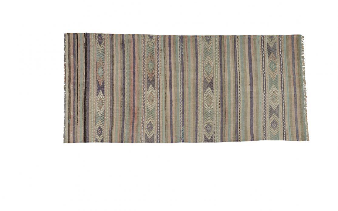 Tyrkisk kelim tæppe løber i grøn, blå og grå nuancer. Tæpper sælges i København