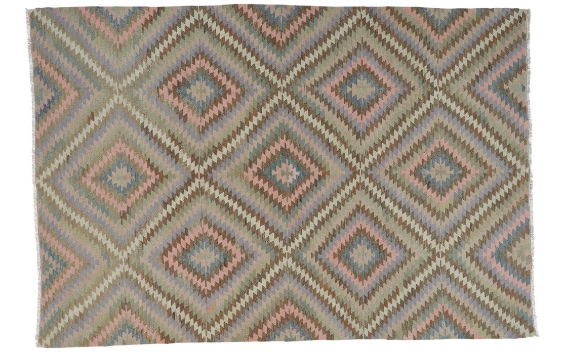Stor ægte kelim tæppe i pastelfarver fra Tyrkiet. Tæpper sælges i København