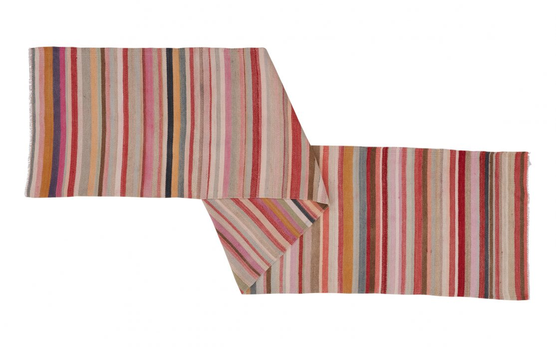 Stribet lyserød kelimløber fra Tyrkiet. Tæpper sælges i København